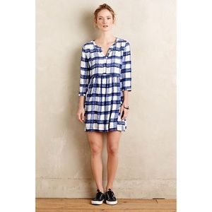 Anthropologie Maeve Devery Blue Checkered Dress